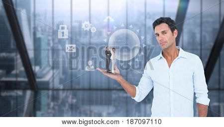Digital composite of Digital composite image of businessman holding colleagues in palm