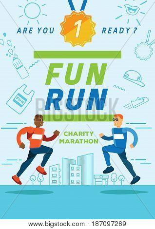 fun running charity marathon illustration poster with men runners