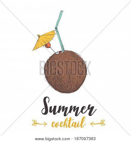 skech cocktail coconut. Sketch cocktail vector art