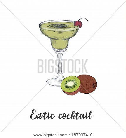 skech cocktail kiwi. Sketch cocktails vector art