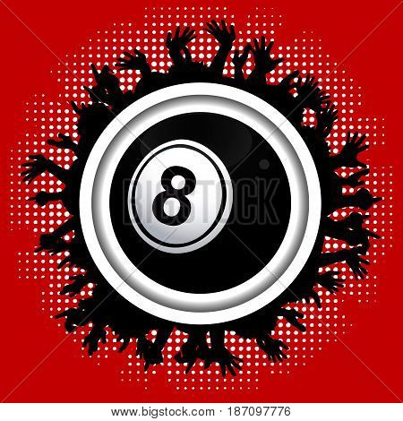 Number Eight Black Bingo Lottery Ball Over White Border with Crowd Silhouette on Red Background