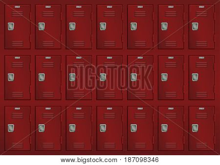 Deposit lockers. Red safe for charging room. Vector illustration