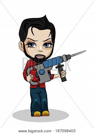 Vector illustration of a worker with puncher