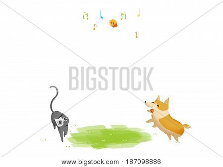 Dog, Cat and Bird. Video Game's Digital CG Artwork, Concept Illustration, Realistic Cartoon Style Background