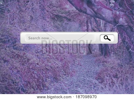 Digital composite of Search Bar with pink pink forest mysterious background
