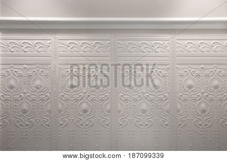 White paper wall texture Floral wallpaper pattern light whight abstract background texture interior.