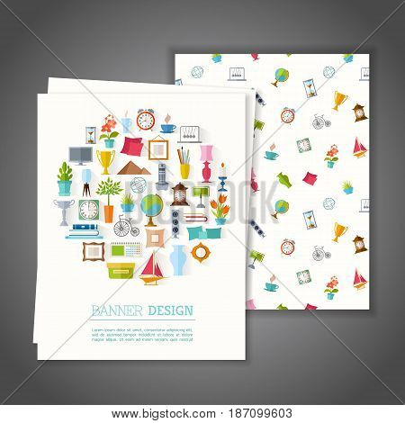 Cards with home decor symbols. Greeting or Invitation vector card on interior design. Branding Design. Banner.