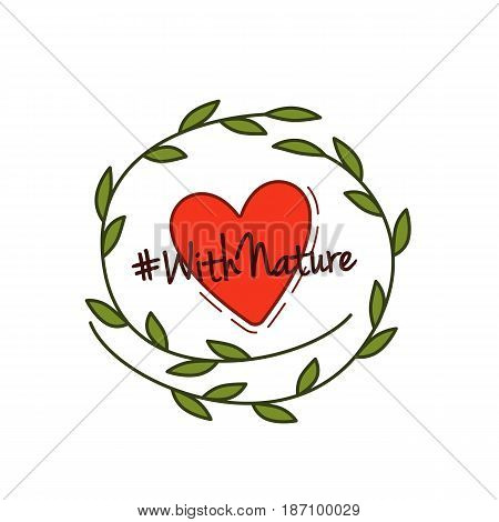 Vector illustration, eco poster, eco banner or eco card for world environment day with stylish typography, and green leaves. Slogan With Nature