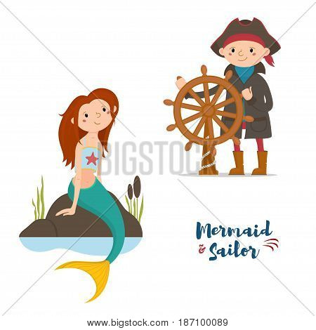 Sailor, captain boy holding steering wheel and mermaid girl sitting on rocks, cartoon vector illustration isolated on white background. Cartoon sailor and mermaid characters, little kids, children