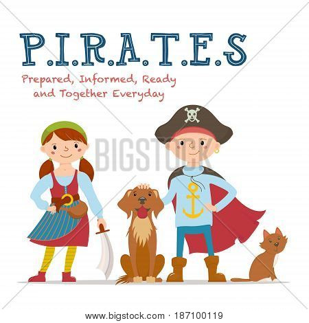 Pirate lettering, poster design with boy and girl dressed as pirates, cat, dog, cartoon vector illustration isolated on white background. Pirates abbreviation lettering poster with kids and pets