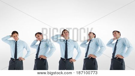 Digital composite of Multiple image of confused businessman against white background