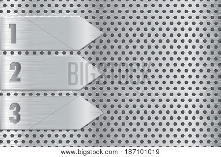 Metal perforated plate with steel arrow. Steel background. Vector  Illustration.