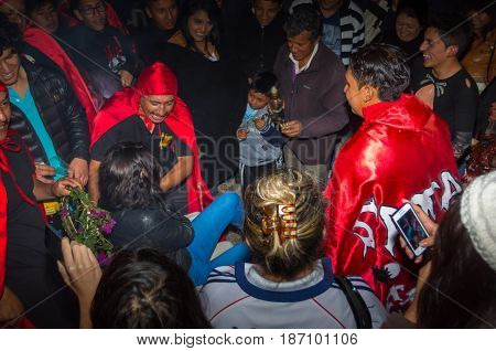 Quito, Ecuador - May 27, 2015: Close up of an unidentified people in the diablada having fun.