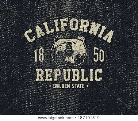 California t-shirt with grizzly bear head. Vector illustration