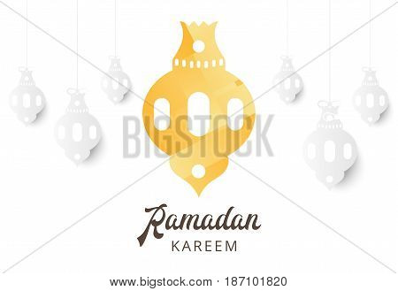 Ramadan Kareem Greeting Banner With Arabic Lamps And Text. Islamic Holiday Poster Background Templat