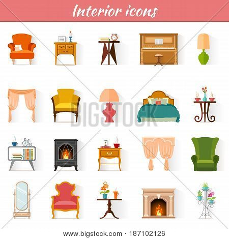 Icons of furniture. Set of vector pictogram for web design. Badges of interior items.