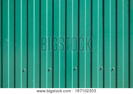Green goffered metal texture with screw heads, corrugated steel surface. Industrial background.
