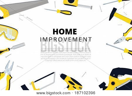 Home Improvement Background With Repair Tools. House Construction Layout. Renovation Backdrop With C