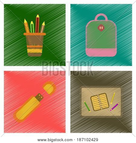 assembly flat shading style icons of education school bag usb pencil table