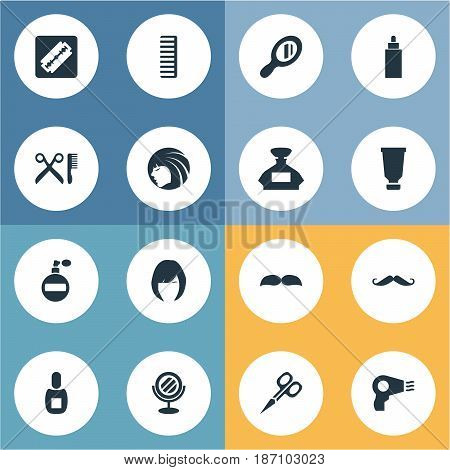 Vector Illustration Set Of Simple Barber Icons. Elements Reflector, Shaver, Cut Tool And Other Synonyms Glass, Looking-Glass And Mustache.