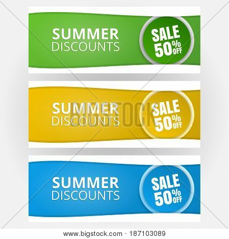 A set of templates for banners. Seasonal discounts, promotions. Vector illustration.