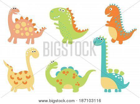 Cute dino illustrations set on white background