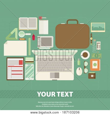 Vector art creative office workplace flat set.