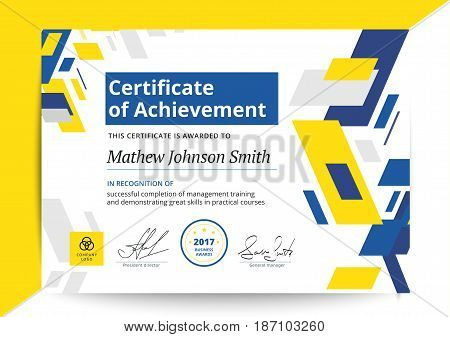 Certificate Of Achievement Template In Modern Design. Business Diploma Layout For Training Graduatio