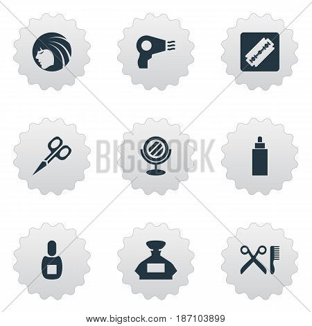 Vector Illustration Set Of Simple Barber Icons. Elements Blow Dryer, Flask, Shaver And Other Synonyms Looking-Glass, Mirror And Vial.