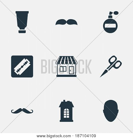 Vector Illustration Set Of Simple Barber Icons. Elements Beard, Whiskers, Supermarket And Other Synonyms Shaver, Container And Bottle.