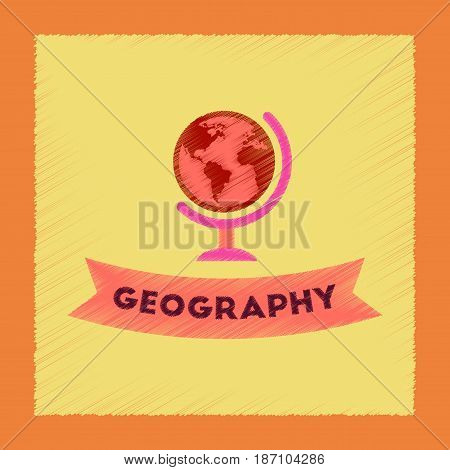 flat shading style icon of geography lesson