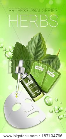 Herbal skin care mask ads. Vector Illustration with herbal smoothing mask and serum. Vertical banner.