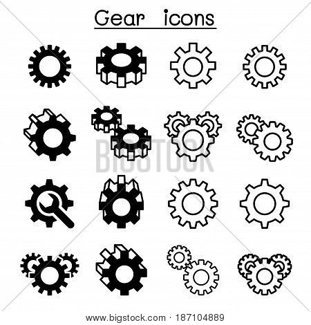 Gear Cogwheel Repair icon set Vector illustration Graphic design