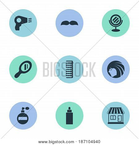 Vector Illustration Set Of Simple Hairdresser Icons. Elements Reflector, Supermarket, Peeper And Other Synonyms Aroma, Lady And Reflector.