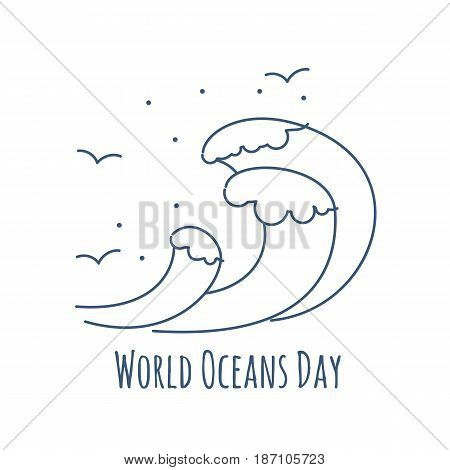 Vector silhouette of the sea birds on wave. Illustration dedicated on World oceans day.