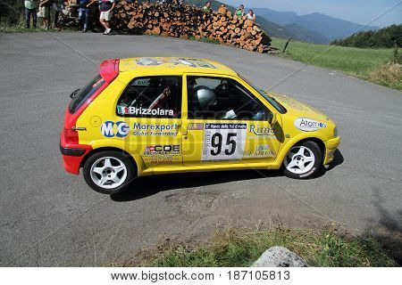 Santo Stefano D'Aveto Italy - August 24 2013 Rally Ronde Val D'Aveto: A Peugeot 106 rally engaged in the race.