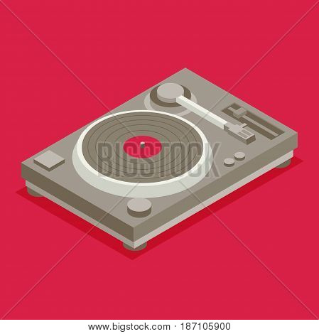 DJ deck. Isometric flat vinyl player icon