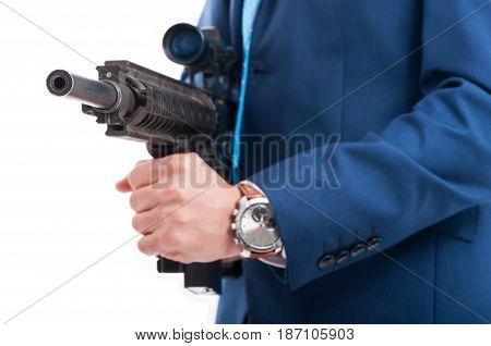 Dangerous Killer Holding Machine Gun Shoot In Closeup