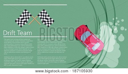 Top view of a drifting car. Flat colorful vector.