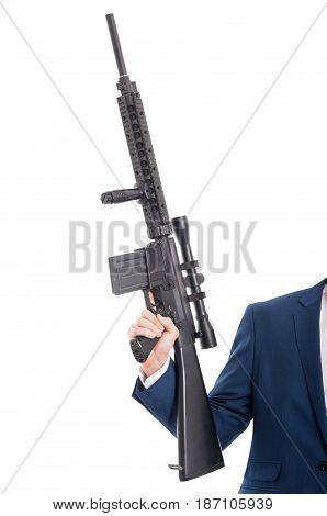Close-up Of Man Hand Holding Machine Gun