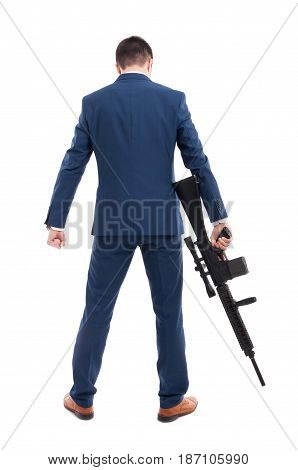 Back View Of Accountant Armed With A Rifle