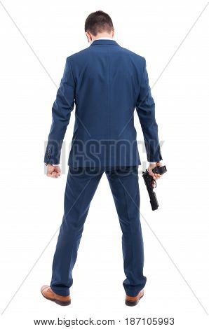 Powerful Killer With A Gun Standing With Back
