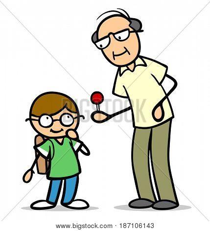 Old grandpa offering his grandchild a sweet sucker