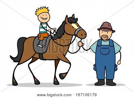 Cartoon boy riding horse on stable with riding instructor