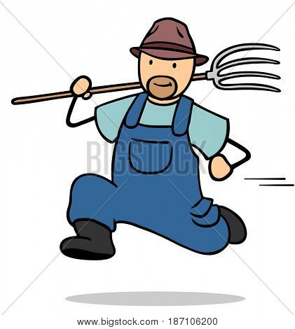 Fast cartoon farmer running with a pitchfork