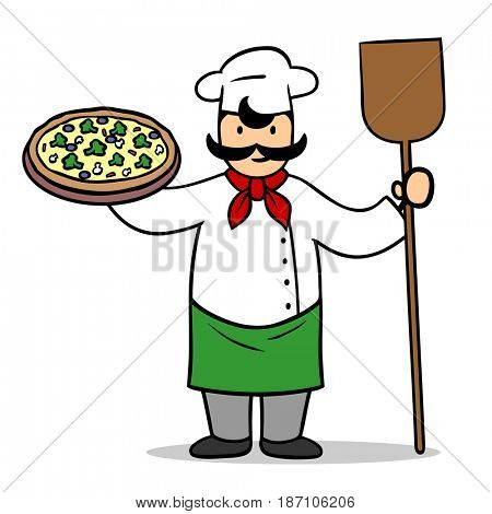 Cartoon pizzeria chef holding a fresh vegetarian pizza in his hand