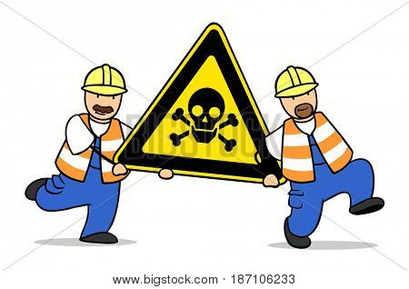 Two cartoon construction workers carrying