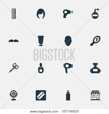 Vector Illustration Set Of Simple Hairdresser Icons. Elements Peeper, Supermarket, Flask And Other Synonyms Container, Mirror And Drying.