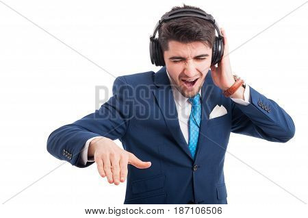 Young Lawyer Smiling While Listening To Music