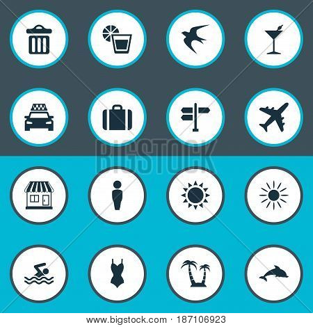 Vector Illustration Set Of Simple Seaside Icons. Elements Hot, Airplane, Beverage And Other Synonyms Dustbin, Woman And Swimming.